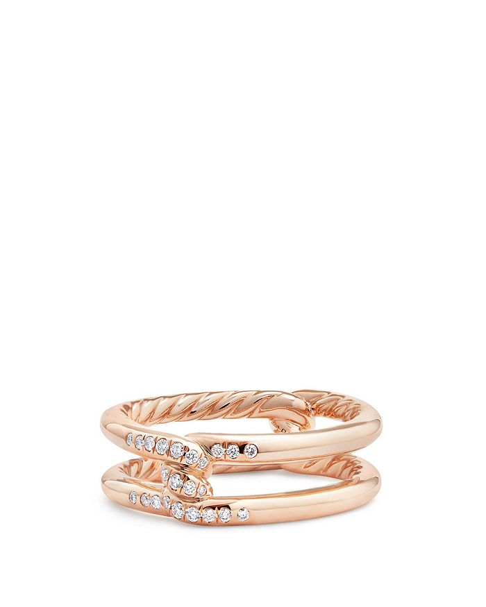 David Yurman - Continuance Knot Ring with Diamonds in 18K Rose Gold