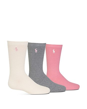 Ralph Lauren - Girls' Waffle Trouser Socks, 3 Pack - Big Kid
