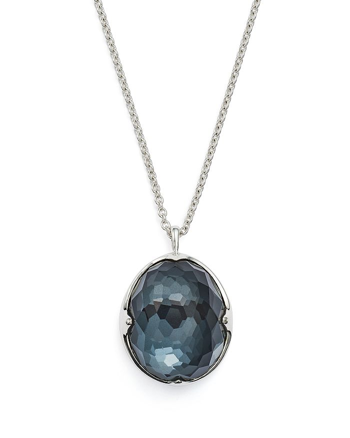 """IPPOLITA - Sterling Silver Rock Candy® Hematite and Clear Quartz Doublet Prince Pendant Necklace, 31"""""""