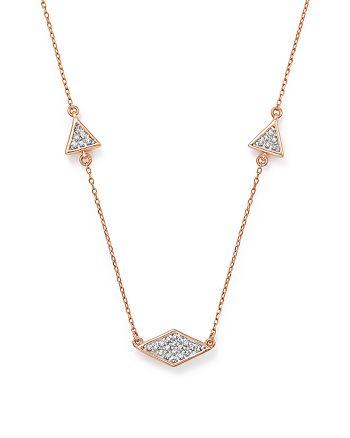 """Adina Reyter - 14K Rose Gold Pavé Diamond Triangle Necklace, 12.5"""""""