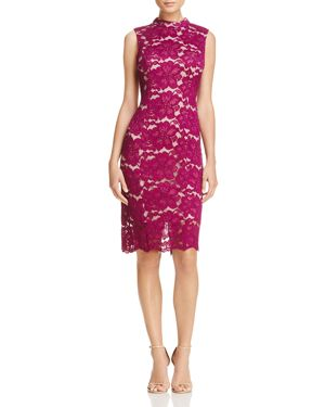 Adrianna Papell Mock Neck Lace Dress