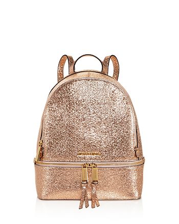 9e2b4fde2d26 MICHAEL Michael Kors - Rhea Zip Metallic Medium Leather Backpack - 100%  Exclusive