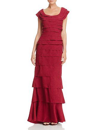 Tadashi Shoji - Tiered Textured Crepe Gown