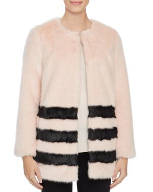 Love Token Contrast Striped Faux Fur Coat