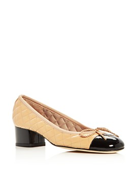 Paul Mayer - Women's Titou Quilted Leather Cap Toe Block Heel Pumps