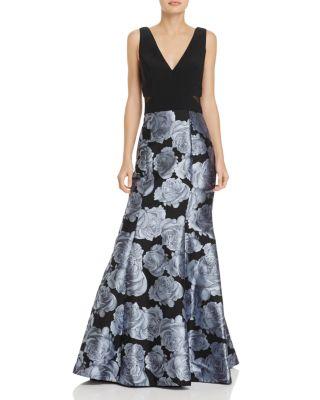 AVERY G Jacquard-Skirt Gown in Black/Gray