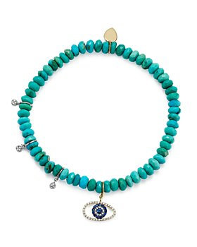 Meira T - 14K White and Yellow Gold Turquoise Beaded Bracelet with Sapphire and Diamond Evil Eye Charm
