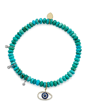 Meira T 14K White and Yellow Gold Turquoise Beaded Bracelet with Sapphire and Diamond Evil Eye Charm