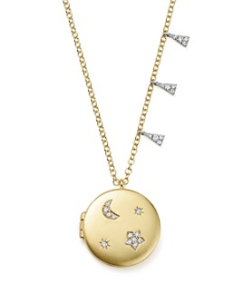 """Meira T - 14K White and Yellow Gold Diamond Moon and Star Locket Necklace, 16"""""""