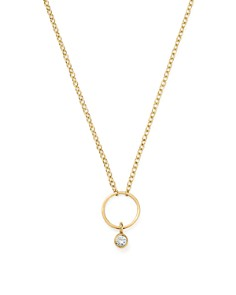 """Zoë Chicco - 14K Yellow Gold Circle Pendant Necklace with Diamond, 16"""""""