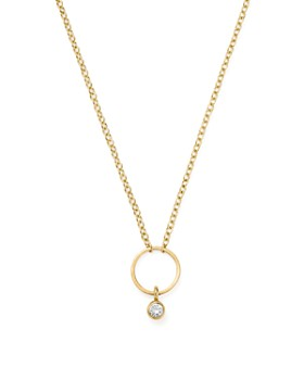 25f09dc42 Zoë Chicco - 14K Yellow Gold Circle Pendant Necklace with Diamond, ...