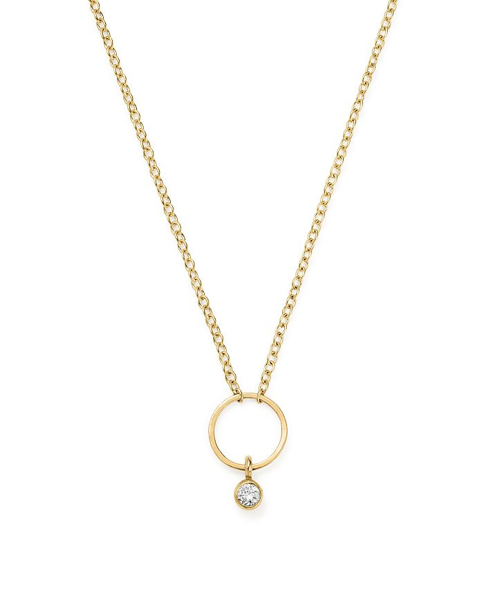 ZoË Chicco 14K Yellow Gold Circle Pendant Necklace With Diamond, 16 In White/Gold