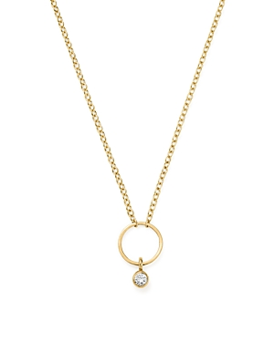 Zoe Chicco 14K Yellow Gold Circle Pendant Necklace with Diamond, 16-Jewelry & Accessories