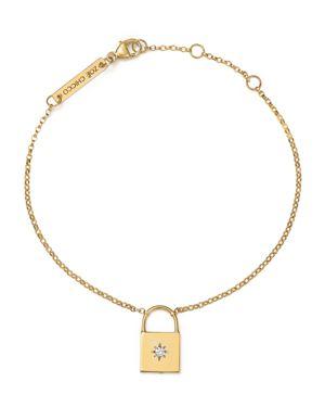 Zoe Chicco 14K Yellow Gold Padlock Charm Bracelet with Diamond