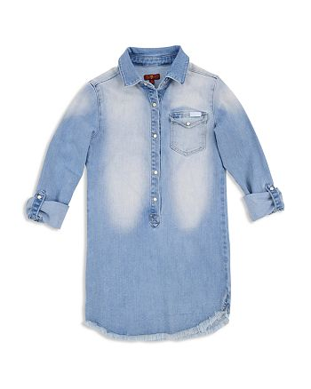 7 For All Mankind - Girls' Faded & Frayed Denim Dress - Big Kid