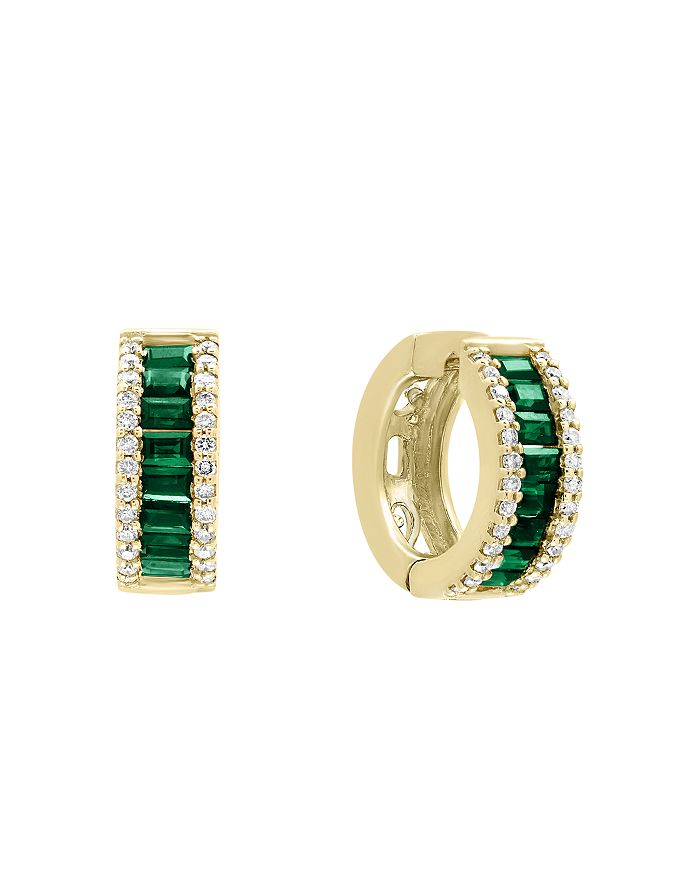 Bloomingdale's - Emerald and Diamond Hoop Earrings in 14K Yellow Gold - 100% Exclusive