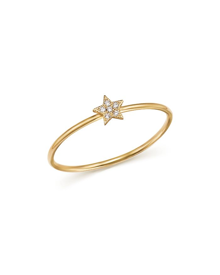 Zoë Chicco - 14K Yellow Gold Itty Bitty Diamond Star Ring