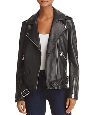 Aqua Oversized Leather Moto Jacket - 100% Exclusive