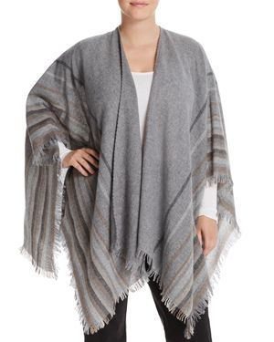 Eileen Fisher Plus Stripe Fringe Serape