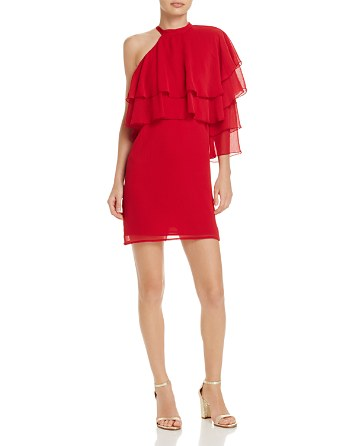 $WAYF One-Shoulder Chiffon Mini Dress - 100% Exclusive - Bloomingdale's