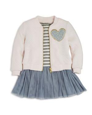 Pippa & Julie Girls' Bomber Jacket & Striped Tutu Dress Set - Baby