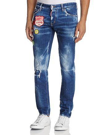 DSQUARED2 - Patched Slim Fit Jeans in Stormy Wash