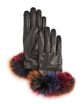 7d58b5a6ce713 Echo - Fox Fur Trim Leather Tech Gloves