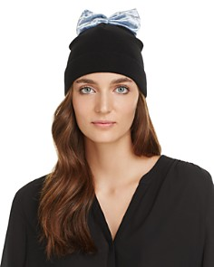 Federica Moretti Knit Cap with Velvet Bow - 100% Exclusive - Bloomingdale's_0