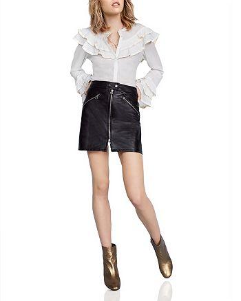 Scotch & Soda - Ruffled Bell Sleeve Blouse, rag & bone/JEAN Leather Racer Mini Skirt & More