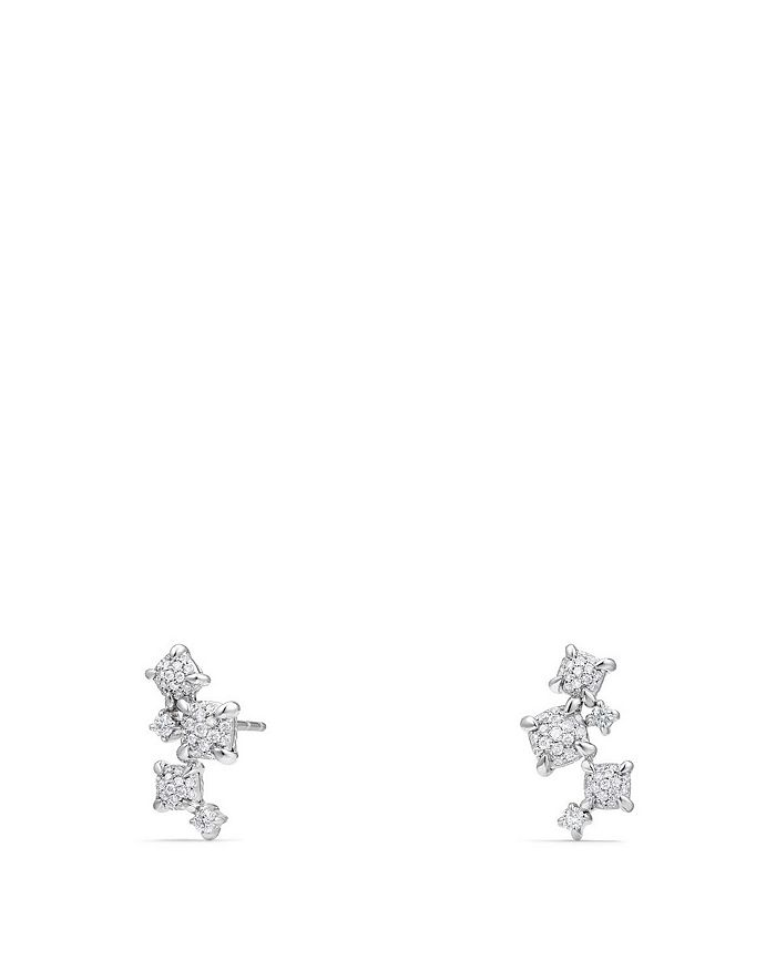 David Yurman - Precious Châtelaine Climber Earrings with Diamonds in 18K White Gold