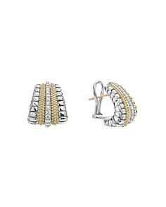 LAGOS - 18K Gold and Sterling Silver Diamond Lux Graduated Huggie Hoop Earrings