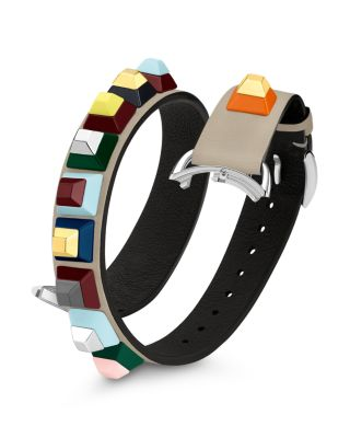 Selleria 17Mm Embellished Leather Watch Strap in Grey