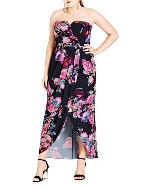 City Chic Romantic Rose Print Maxi Dress