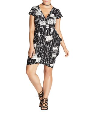 City Chic Abstract Print Zip Front Dress