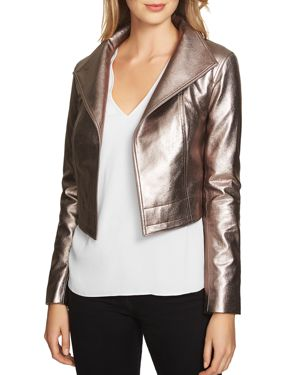 1.state Cropped Metallic Faux Leather Moto Jacket