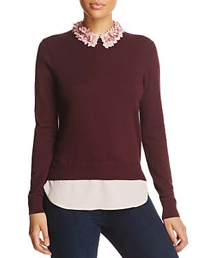 Ted Baker Nansea Floral Collar Layered-Look Sweater - 100% Exclusive