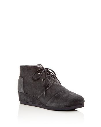 c848aacb1b9 TOMS - Girls  Desert Suede Lace Up Wedge Booties - Toddler