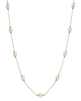 10db856773d164 Bloomingdale's - Cultured Freshwater Pearl and Beaded Station Necklace in  14K Yellow Gold, ...