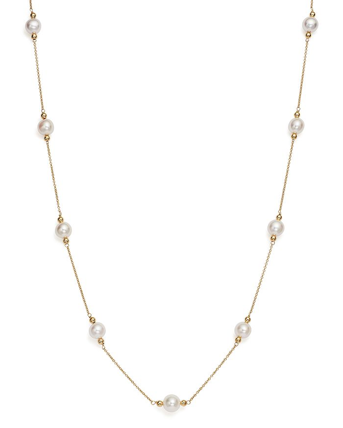 """Bloomingdale's - Cultured Freshwater Pearl and Beaded Station Necklace in 14K Yellow Gold, 17"""" - 100% Exclusive"""