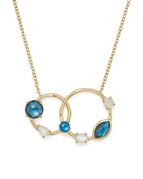 """IPPOLITA - 18K Yellow Gold Rock Candy® Blue Topaz Doublet, Mother-of-Pearl Doublet and Blue Topaz Circle Pendant Necklace, 16"""""""