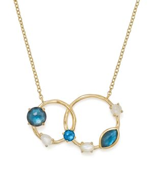 Ippolita 18K Yellow Gold Rock Candy Blue Topaz Doublet, Mother-of-Pearl Doublet and Blue Topaz Circl