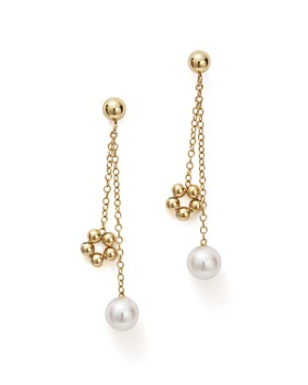 Bloomingdale's - Cultured Freshwater Pearl & Beaded Dangle Charm Earrings in 14K Yellow Gold - 100% Exclusive