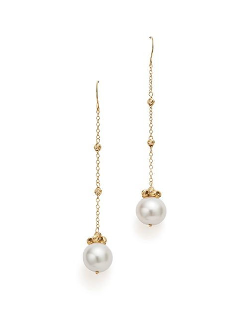 Bloomingdale's - Cultured Freshwater Pearl and Beaded Chain Earrings in 14K Yellow Gold - 100% Exclusive