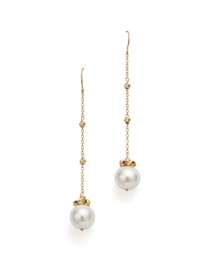 Bloomingdale's Cultured Freshwater Pearl and Beaded Chain Earrings in 14K Yellow Gold - 100% Exclusive