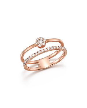 Diamond Two Row Band in 14K Rose Gold, .33 ct. t.w. - 100% Exclusive