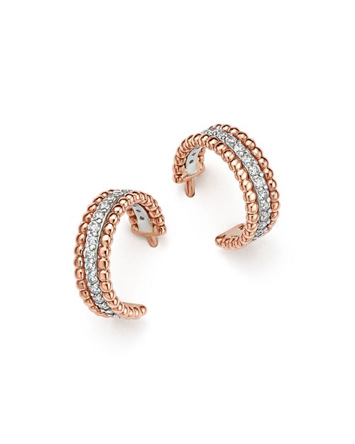 Bloomingdale's - Diamond Beaded Huggie Hoop Earrings in 14K White and Rose Gold, .40 ct. t.w. - 100% Exclusive