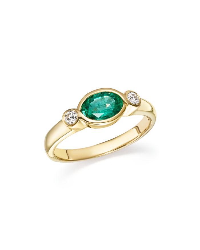 Bloomingdale's Emerald & Diamond Bezel Ring in 14K Yellow Gold - 100% Exclusive   | Bloomingdale's