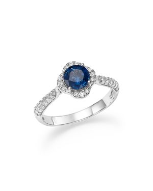 Sapphire with Diamond Halo Ring in 14K White Gold - 100% Exclusive