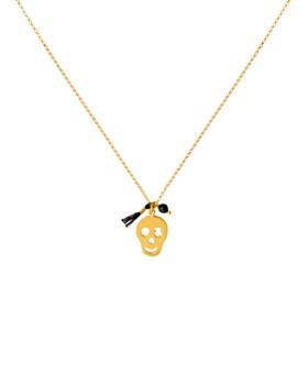"TOUS - Skull Pendant & Onyx Charm Necklace, 17.7"""