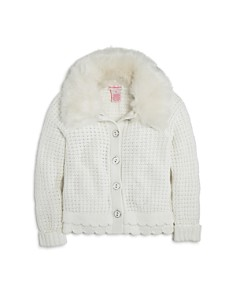 Design History Girls' Cardigan with Faux-Fur Collar - Little Kid - Bloomingdale's_0